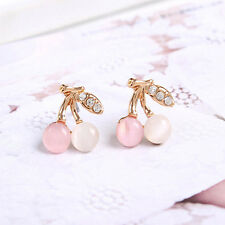 Lady Gold Plated Jewelry Elegant Cherry Rhinestone Crystal Stud Earring Gift Hot