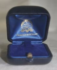 Fine Authentic Vintage FREDERICO BUCCELLATI Blue Velvet Leather Jewelry Ring Box