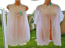 V52 vintage BNWT Pippa Dee white lace nylon babydoll nightie robe bridal set S/M