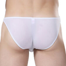 Men's New Smooth Underwear Briefs Shorts Boxers Underpants Thong Sheer Bottoms