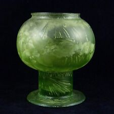 Handcrafted Art Glass Etched Green Stemmed Globe Vase Tea Light Candle Holder 7""