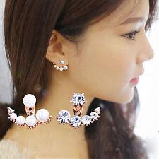 1Pair Elegant Pearl Rhinestone Dangle Ear Stud Earrings Crystal Jewelry