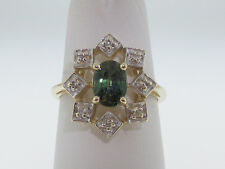 1.00CT Natural Green Sapphire Diamonds Solid 14K Yellow Gold Ring FREE Sizing