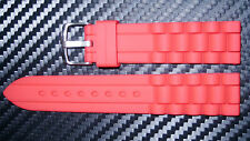 22mm Red Silicon Watch Band/ Strap with a Silver Buckle