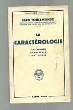 Jean TOULEMONDE La caractérologie Tempéraments caractères typologie 1961