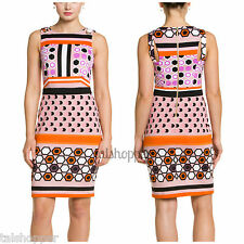MUSE NEW Pink Jersey Printed Sleeveless Wear to Work Dress 12 NWT Grommet Sheath
