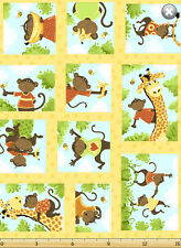"""Susybee's Oolie, the Monkey patchwork 100% cotton 43"""" fabric by the yard 36"""""""