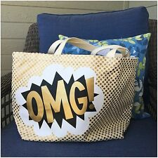REBECCA MINKOFF OMG RETRO GOLD MULTICOLOR CANVAS TOTE NWT $69