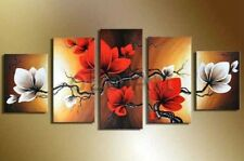 5 Piece handpainted art abstract black white red flower oil painting on canvas