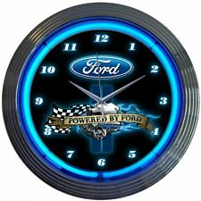 """Neon Wall Clock Powered By Ford 15"""" Wall Decor Accents Man Cave Game Room Gifts"""