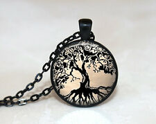 New Trees Charm Glass Dome Cabochon Black Chain Necklace Pendant h#49