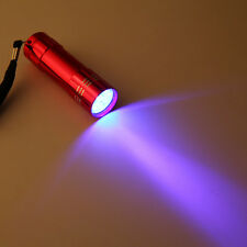 9 LED Flashlight Blacklight Mini Aluminum UV Ultra Violet Torch Light Lamp Blac