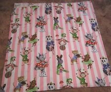 Vintage Cotton Fabric for Kid Crafts Sewing Circus Animals Print Pink Stripes