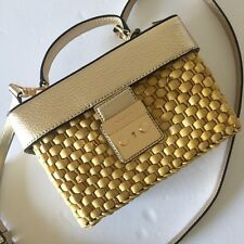 Michael Kors Pale Gold Leather Straw Gabriella Medium Top Handle Satchel NWT