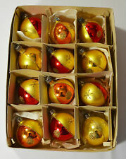 12 VINTAGE MERCURY GLASS CHRISTMAS TREE ORNAMENTS 1950's MICA HANDPAINTED BOXED