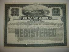 $1,000 New York Central Railroad Company Bond Stock Certificate NY A