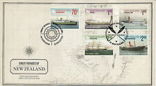 New Zealand 2012 FDC Great Voyages 5v Set Cover Boats Ships Cook Strait Port