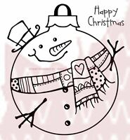 Woodware Clear Stamps - Christmas Large Snowman Bauble - Cardmaking Sentiments