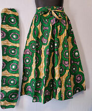 "African Wax Print Ankara Maxi Women Skirt 2 Pocket Belt Free Size Waist 50"" P34"