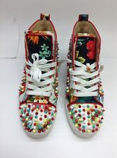 CHRISTIAN LOUBOUTIN Hawaii Print Multicolor Studs High Top Sneakers Shoes