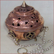 INCENSE BURNER CENSER TIBET COPPER BRASS DOUBLE DORJE NEPAL