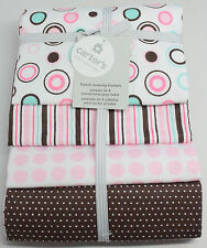 Carter's 4 Piece Flannel Receiving Blankets Dots Stripes Newborn Baby Gift Set
