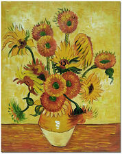 Vase of 15 Sunflowers by Van Gogh - Hand Painted Floral Oil Painting On Canvas
