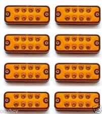 8x 12V LED Side Marker Amber Orange Lights Panel Lamps Truck Lorry Bus Trailer