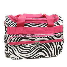"""MONOGRAMMED ZEBRA AND PINK 13"""" MINI DUFFLE BAG - GYM BAG CARRY ON PERSONALIZED"""