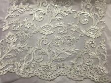 Ivory Corded Flowers Embroider With Sequins On A Mesh Lace Fabric-prom-by yard.
