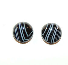 Black and White Agate 12mm Cabochons Set of 2 (9411)