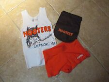 "(3) HOOTERS AUTHENTIC ""3 PIECE SET"" SERVER TOP (XS) SHORTS, POUCH WORK/COSTUME"