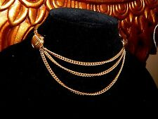 Vintage Coro Signed Triple Chain Egyptian Revival Gold Necklace UNIQUE