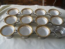 Stunning Set Of 12 Birks Sterling Silver Soup Cup Holder with Dresden Cups
