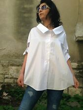 Lagenlook Quirky Oversized Boho Parachute Tunic Plus Size Casual White  Sexy Top