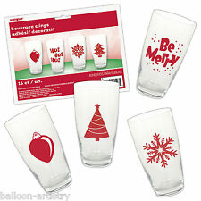 16 Christmas Party Festive Icons Beverage Glass Clings Stickers Decorations