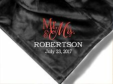 Personalized Monogrammed Throw Blanket w/ Embroidery Mr.& Mrs. Blanket