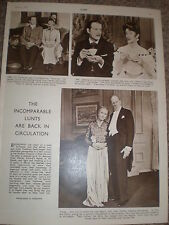 Photo article actors Alfred lunt and Lynne Fontanne 1950 ref K