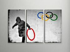 "Banksy Olympic Rings Stretched Canvas Triptych Print 48""x30"", BONUS WALL DECAL!"