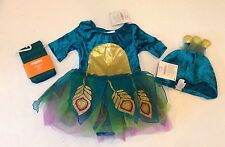 NWT Gymboree 6-12 Months Baby Peacock Costume with Headpiece & Stripe Tights