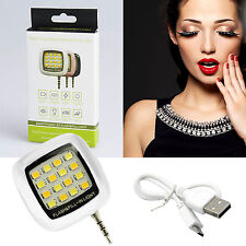 Selfie Light Beauty Fill Flash 16 LED Camera Smart 3.5mm For  iPhone Samsung