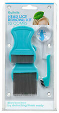Quit Nits Head Lice Removal Kit -2 combs with stainless steel teeth 5x magnifier