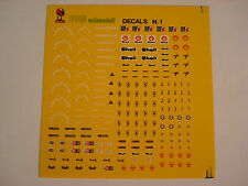 DECAL 1/43 FERRARI,GOOD YEAR,ALFA ROMEO SHELL, CHAMPION, FERODO GENERICA 1