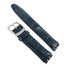 19mm Genuine Leather Alligator Grain Padded Navy Blue Watch Band Fits Swatch