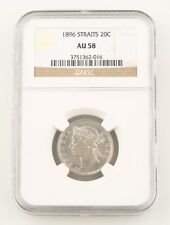 1896 Straits Settlements 20 Cents Silver Coin AU-58 NGC 20c Malaysia Cent KM-12