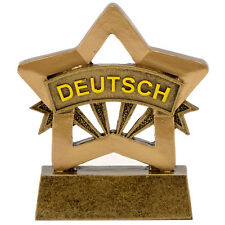 RESIN GERMAN DEUTSCH MINI STAR TROPHY SCHOOL AWARD 8cm FREE ENGRAVING A1671