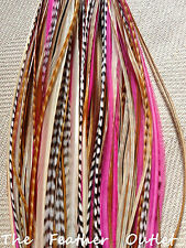 Lot 10 Grizzly Feathers Hair Extensions Thin Pink Natural Brown NATIVE Princess