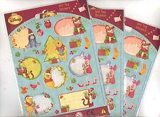 DISNEY WINNIE THE POOH 3 x Regalo di Natale Etichetta Sticker Pack 2 fogli per confezione