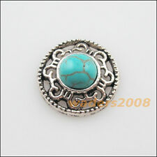8 New Retro Charms Tibetan Silver Turquoise Flower Pendants Connectors 18mm