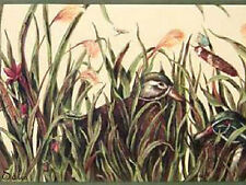Cat Tails Duck Pond Flowers Insects Cabin Lodge Wallpaper Border 40' 2 Rolls +